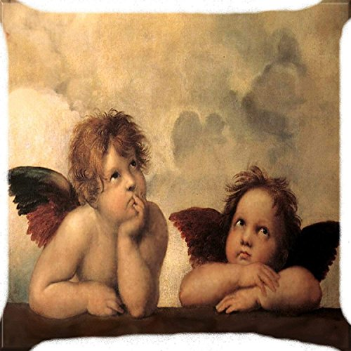 rongxincailiaoke Kissenbezüge Baby Angels Cupid Feather Wings Yellow Linen Throw Pillow Case Cushion Cover Home Sofa Decorative 18 X 18 Inch.