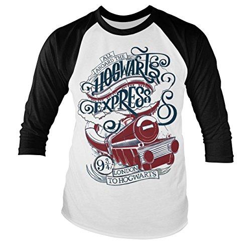 Offizielles Lizenzprodukt All Aboard The Hogwarts Express Baseball Lange Ärmel T-Shirt (Weiß/Schwarz), Small