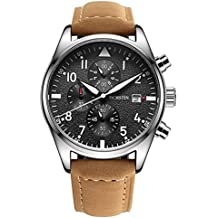 Watch,Mens Watch,Multifunctional Chronography Waterproof Watch,Mens Casual Business Genuine Leather Watch
