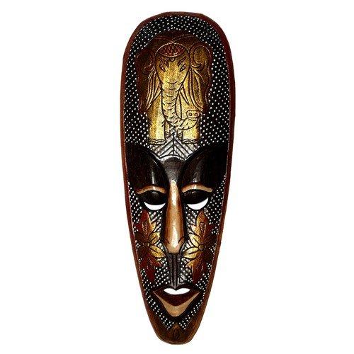 Top Gold Maske 50 cm Elefant Holz Tier Afrika Maske25