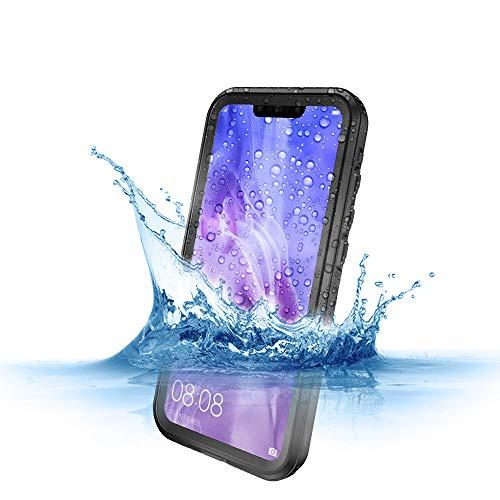 RanGuo Compatible Huawei P20 Lite Wasserdicht Hülle, IP68 Certified Wasserresistent Schutzhülle Tauchschutz Staubdicht Stoßfest Kratzer beständigem mit eingebautem Displayschutzfolie (Schwarz)