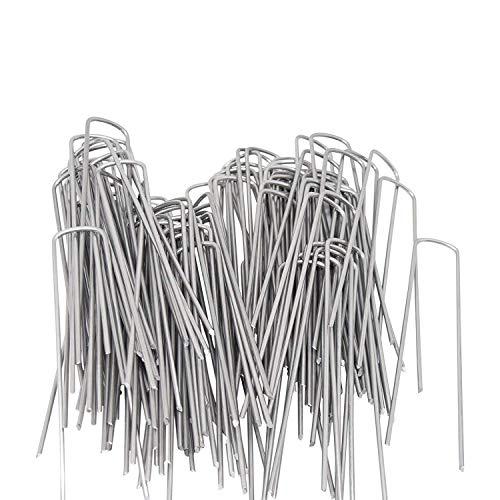 OuYi Piquets de Jardin U Piquets de Mauvaises Herbes Lot DE 50 x 3,0 mm x 15,2 cm/150 mm galvanisé Paysage Piquets Agrafes, Acier Sod Gazon U pins Gardenstaple W 50 _ UK