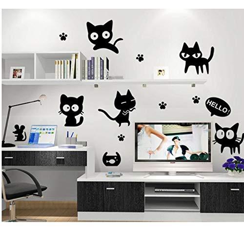 Lvabc Cartoon Schwarze Katze Niedlich Diy Vinyl Wandaufkleber Kinderzimmer Computer Schalter Toilette Home Decor Kunst Decals 3D Wallpaper Dekoration