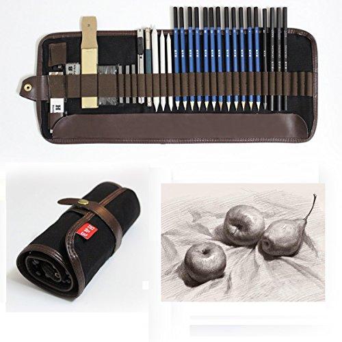 33 Stück Bleistift Set, Lypumso Skizzierstifte Set Bleistifte für Skizzieren und Zeichnen Profi Art Künstler Set mit Graphitkohlestifte Sticks Werkzeuge