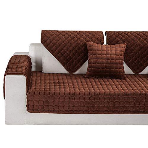 Kswd colore del caffè copertura divano, divano in pelle antiscivolo copridivano copri divano divani inverno di spessore velluto scacchi,70x70cm