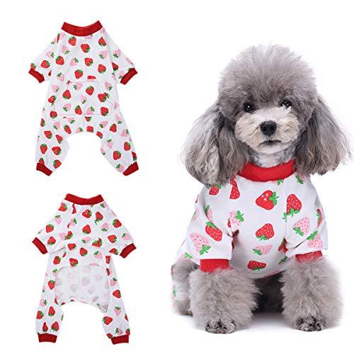 Amakunft Hundekleidung für Hunde und Katzen, Einteiler, weicher Schlafanzug aus Baumwolle, für kleine Hunde und Katzen -