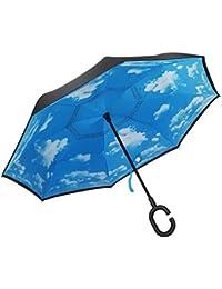 FuXing Parapluie Double Couche Inversée Avec en Forme de C Résistant au vent et Imperméable à l'eau Ombrelle Umbrella Parasol Ombrager Bumbershoot