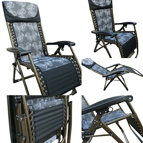 """""""Amaze"""" Folding Zero Gravity living room Reclining Recliner push back easy relax portable Outdoor Indoor Sea beach swimming pool Garden Farm House home Sun bed lounger Chair - 09CB Grey"""
