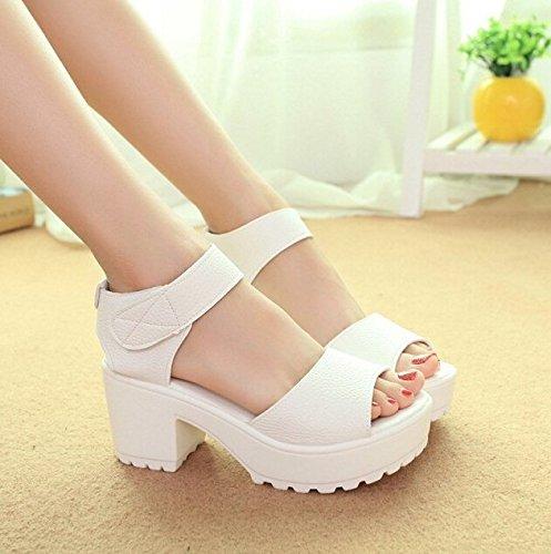 Minetom Femmes Ankle Strap Bout Ouvert Talon Plateformes Haut Sandales Gladiateur Romaines Chaussures Blanc