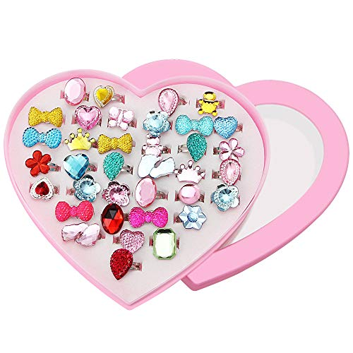 CODIRATO 36 Stück Kinder Ringe Verstellbar Süße Kinder Ring Ringe Set im verschidenen Formen für Kinder, Mädchen als Spielzeug,Geschenk(Bunte) (Schmuck-box Für Kinder Im Alter Von 8)