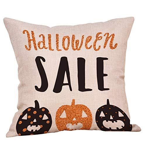 Hjgshd Happy Halloween Home Decor Dekorative Kissenbezüge Baumwolle Leinen Kürbis Dekokissen 18