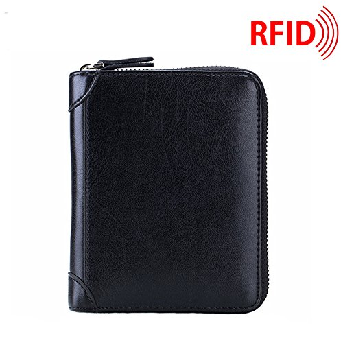 c49e01e325e2 MuLier RFID Blocking Primely Genuine Leather Soft Leather Case Wallet  Zipper Security Card Holder Case Inside 40 Card Slots Black