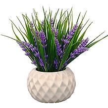 VGIA Planta artificial en maceta para decoración del hogar, flores de lavanda y hierba
