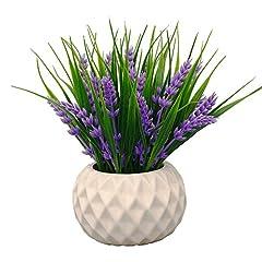 Idea Regalo - Vgia, fiori di lavanda artificiali in vaso, dallo stile moderno, con erba decorativa, per centrotavola, Purple, viola