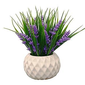 VGIA Planta artificial en maceta para decoración del hogar, flores de lavanda y hierba, Amarillo, Amarillo