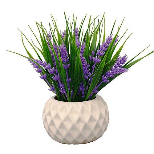 Vgia, fiori di lavanda artificiali in vaso, dallo stile moderno, con erba decorativa, per centrotavola, Purple, viola