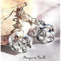 Magie di Trilli: Orecchini pendenti artigianali donna in alluminio e cristalli a forma di rose - Idea regalo Pasqua - Compleanno - Festa della Mamma