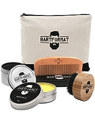 """Bartpflege Set """"GLATTMACHER"""" von BARTFORMAT (4-Teilig) - Runde Bartbürste (Wildschweinborsten) + Bart Balsam + Bartkamm (Birnbaumholz) - Für die Tägliche Bartpflege - Ideal als Geschenk"""