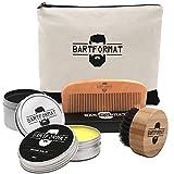 Bartpflege Set 'GLATTMACHER' von BARTFORMAT (4-Teilig) - Runde Bartbürste (Wildschweinborsten) + Bart Balsam + Bartkamm (Birnbaumholz) - Für die Tägliche Bartpflege - Ideal als Geschenk