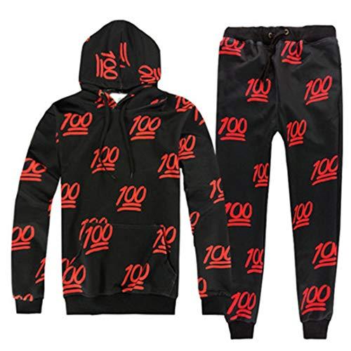 Vieryyes Lustige 100 Druck 3D TrainingsanzüGe MäNner Womens AnzüGe Unisex Sweatshirts Hoody + Hose Sets Red Suits XXL -