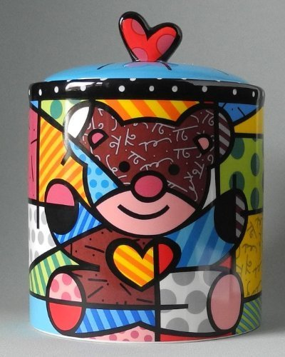 Romero Britto Teddy Bear Cookie Jar/canister