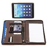 Profesional Cuero genuino Pacto Compacta Portafolio de Negocio Profesional Bolso Funda para NUEVO iPad Pro 10.5 y A5 Papel para portátil (marrón)