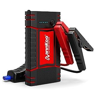 Auto Starthilfe - ANNKOO Tragbare 450A 10000mAh IP65 Wasserbeständiges Autobatterie Anlasser Akku-Ladegerät mit LED Taschenlampe für Laptop, Smartphone, Tablet und Vieles Mehr (Schwarz/Rot)