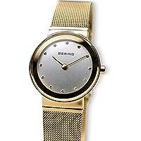 Bering Classic - Reloj analógico de mujer de cuarzo con correa de acero inoxidable dorada - sumergible a 50 metros de BERING