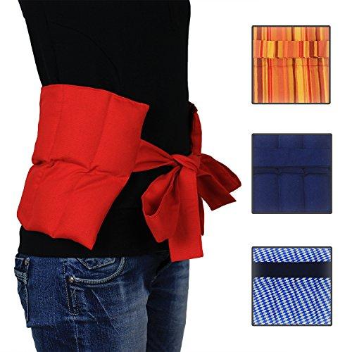 Hilfe bei Rückenschmerzen, Bandscheibenleiden! Hexenschuss Großes Wärmekissen mit Bändern- Körnerkissen - Nierenkissen - Wellnesskissen - Wohlfühlkissen- Füllung gereinigter Weizen - in 3 Farben (rot)