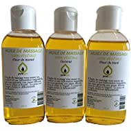 Coffret Modelage Invitation aux Voyages- Mix de 3 flacons d'Huiles de massage Parfumées Fleur de Monoï, Fleur de Tiaré et Noix de Coco, 100% végétale - 3 x 100 ml