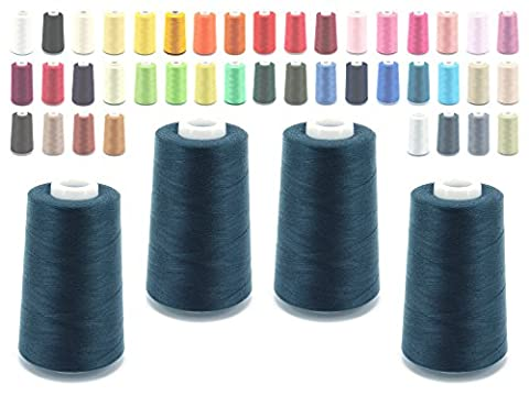 Overlocker Thread Sewing Thread 40/2(120), 5000Yards (4570Metres), Silicone, Assorted Colours,