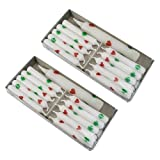 2er Pack Geburtstagskerzen mit Lebenslicht weiß mit Herzen und Kleeblättern