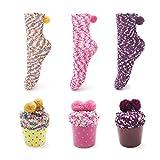 SAMGOO 1 oder 3 Paar Cupcakes Design Mädchen Damen Socken Weihnachtssocken Flauschig Innenfell Festlicher Spaß Neuheit Weihnachtsgeschenk Geschenkbox (3 paar(Gelb+Lila+Pink))