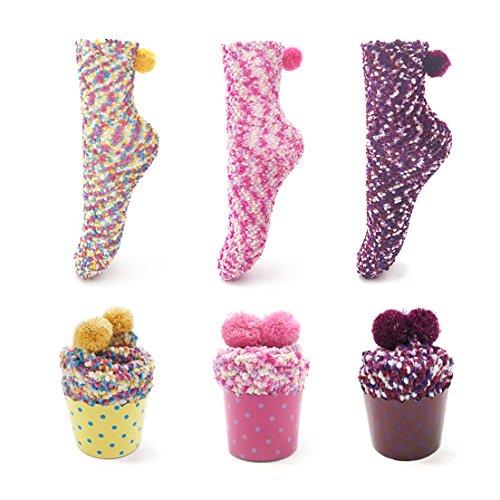 Leapop 1 oder 3 Paare Damen Mädchen Socken Cupcakes Design Flauschig Gemütliche Weiche Dicke Warme Weihnachtssocken mit Geschenkbox, 3 Paare (Gelb+lila+rosa Rot), Einheitsgröße