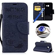 Etsue Samsung Galaxy A5 2017 Wallet Case,Samsung Galaxy A5 2017 Flip Case, Cute Retro Design Cute Cool Bear Embossing Pattern Pu Leather Flip Case Wallet Cover Book Style Type with Stand Card Holder Wrist Strap Magnetic Closure for Samsung Galaxy A5 2017 +Blue Stylus Pen+Bling Glitter Diamond Dust Plug(Colors Random)-Bear,Dark Blue