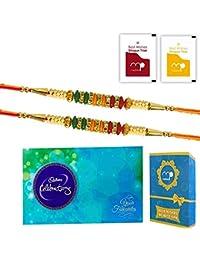 Maalpani Multicolor Set Of 2 Rakhi With Cadbury Celebration For Bhaiya(Men/Boy)
