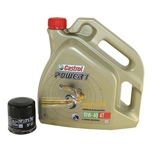 Ölwechsel- Set Motoröl Castrol Power 1 4T 10W-40 4 Liter inkl. Ölfilter für Motorrad, Honda CB CBR, GL, NT, VF, VFR, Kawasaki ER, GPZ KLE, ZX, ZXR, Polaris, Yamaha uvm