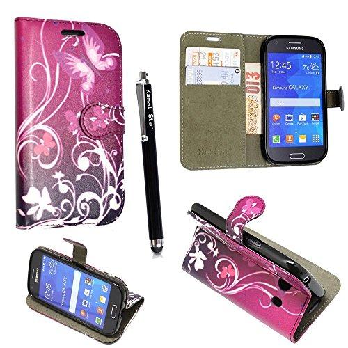 Samsung Galaxy S3 S3 neo i9300 i9301 Funda, Kamal Star® PU Leather Cuero con Tarjeta de Crédito Slots Funda Wallet Carcasa Cover + Stylus (Butterfly Purple