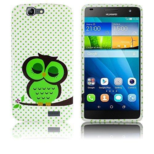 thematys Passend für Huawei Ascend G7 Silikon Schutz-Hülle Süße Eule weiche Tasche Cover Case Bumper Etui Flip Smartphone Handy Backcover
