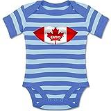 Städte & Länder Baby - Lippen Bodypaint Kanada - 6-12 Monate - Blau/Babyblau - BZ10S - Gestreifter Kurzarm Baby-Strampler/Body Für Jungen und Mädchen