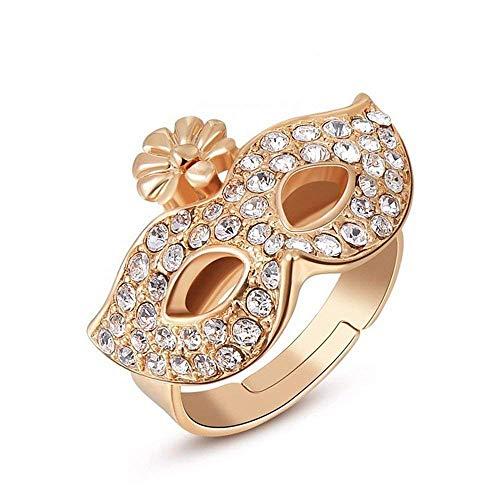 HOUHOUNNPO Lady Kristall Rose Gold Ring Kristall Maske Ring (Größe : 8)