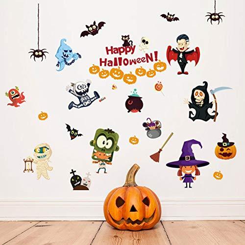 GZZQTT Happy Halloween Wandaufkleber Scary Kürbis Spinne Bat Zombie Geist Hexe Möbel Hause Raumdekoration Abziehbilder DIY Vinyl Wandbild