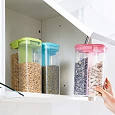 Zollyss Plastic Separated Seal Tank Cereals Storage Box Kitchen Large Snack Tank Transparent Storage Tank