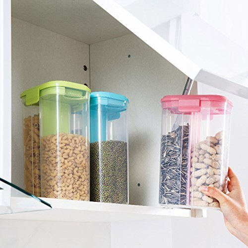 ON GATE Transparent Plastic Lock Food Storage Dispenser Airtight Container Jar for Cereals, Snacks, Pulses -2 section