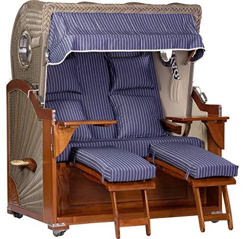 foolonli Strandkorb 2,5 Sitzer aufgebaut Blau-Weiß gestreift mit Bullauge Mahagoni Holz XXL