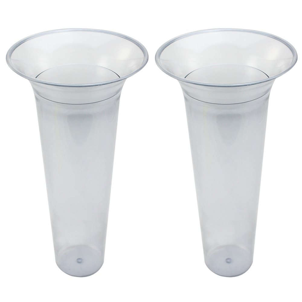com-four® 2X Inserciones de jarrón de Suelo, Inserto de plástico para jarrones de Suelo, Longitud 32 cm (02 Piezas…