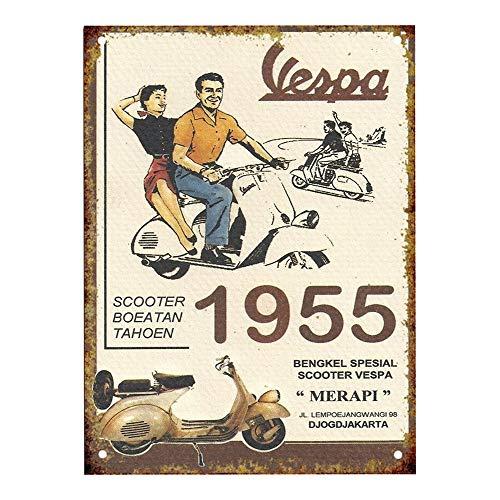 Shunry Vespa Motorrad Lustige Retro Wand Zeichen Eisen Malerei Personalisierte Kreativität Vintage Metallkunst Blatt Bar Store Cafe Hängende Dekoration Handwerk Poster - Motorrad-club Den Eisen, Um