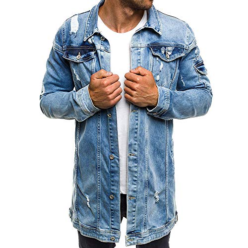 JYJM ❤Herren Herbst Winter Lässige Vintage Wash Distressed Denim Jacke Mantel Top Bluse Herren Winterjacke Jacke Kapuzenjacke Wärmejacke Wintermantel Coat Herren Winter Jacke Sportliche