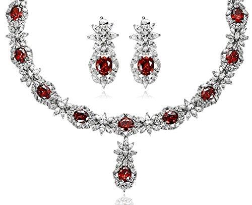 AnaZoz Bijoux Parurus Fantaisie Femme Collier Argent Incrusté de AAA Zircone Cubique Forme de la Pierre:Rond Fleur Cristal Boucles d'Oreilles & Collier Sets Rouge