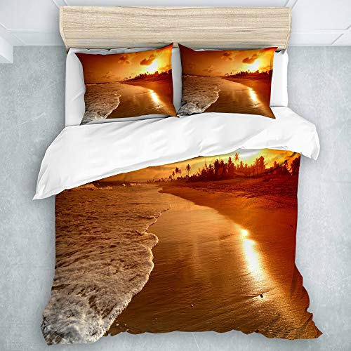 TARTINY Bedding Bedrucktes Bettbezug-Sets Sunset Beach Surf Mikrofaser Kinder Student Schlafsaal Bettwäsche Set